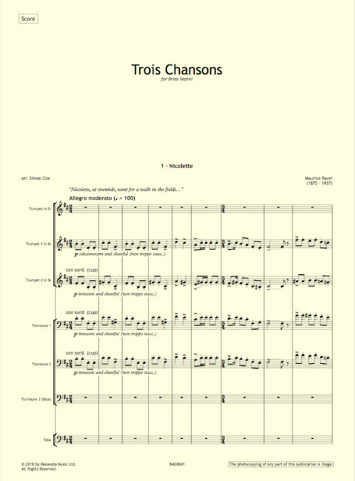 Ravel - Trois Chansons first page