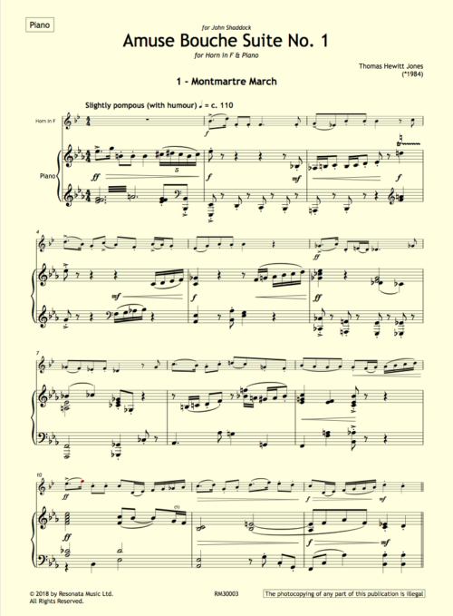 Hewitt Jones – Amuse 1 horn first page