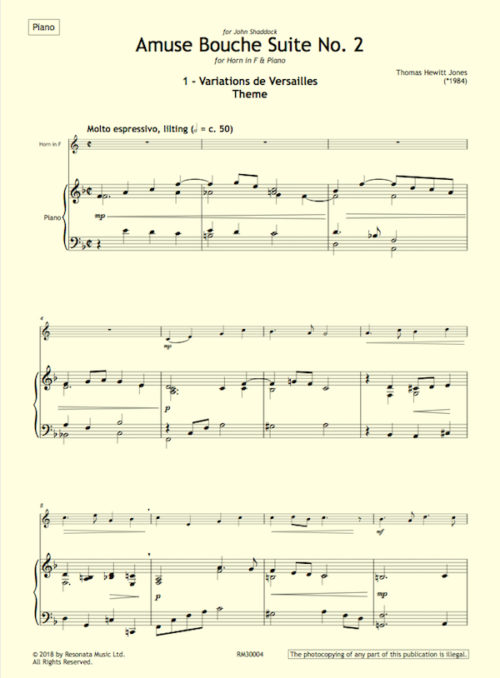 Hewitt Jones – Amuse 2 horn first page