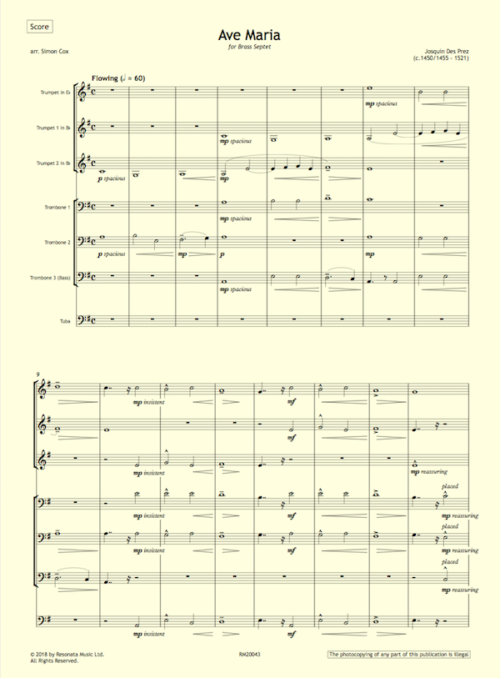 Josquin – Ave Maria first page