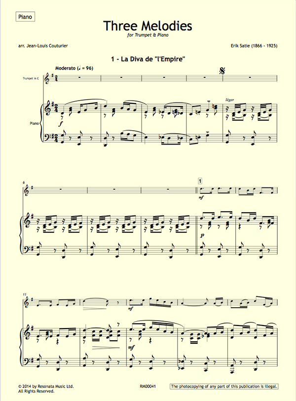 Satie – Three Melodies for Trumpet & Piano – Resonata Music