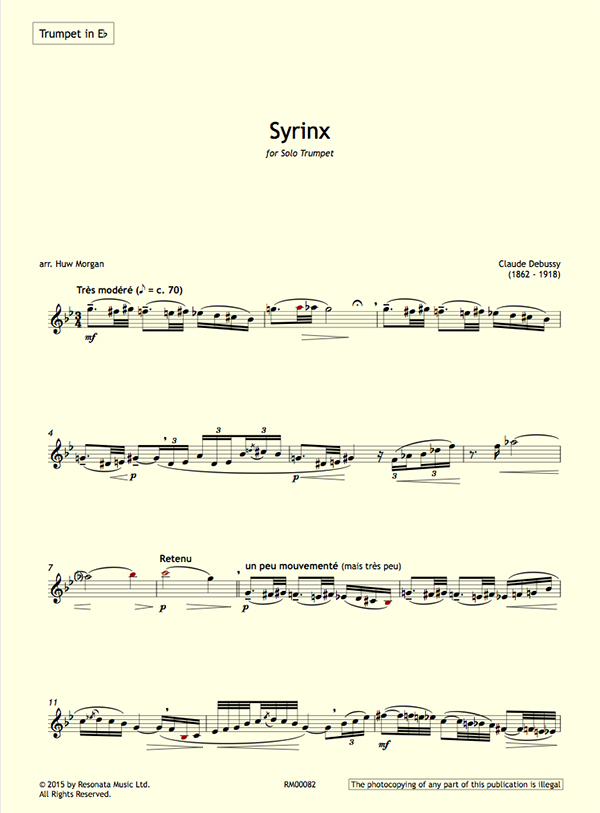 All Music Chords free trumpet solo sheet music : Debussy – Syrinx for Solo Trumpet – Resonata Music