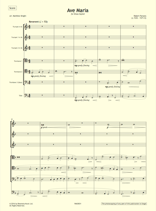 Piano ave maria sheet music piano : Parsons – Ave Maria for Brass Septet – Resonata Music